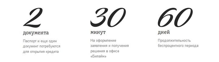 Кредит до 300000 рублей на платежную карту «Билайн»